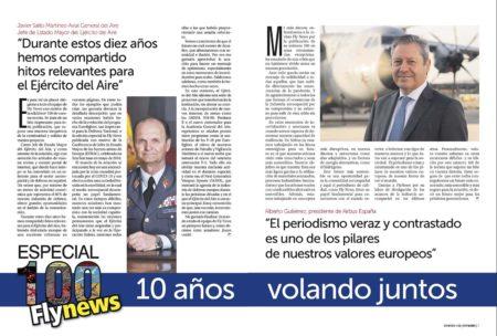 El jefe del Estado Mayor del Aire y el presidente de Airbus España encabezan las felicitaciones a Fly News que encontrarás a lo largo de la revista.