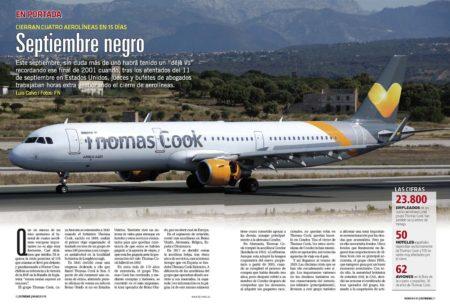 Thomas Cook ha sido la primera de las aerolíneas europeas que han quebrado en septiembre.º