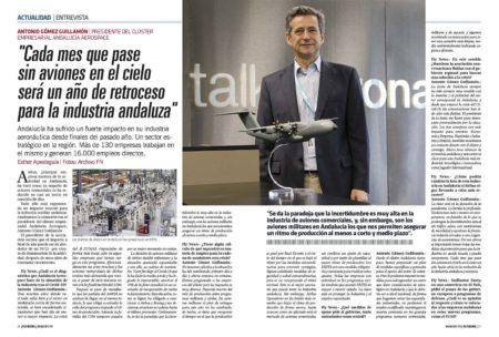 Antonio Gómez Guillamón, como presidente del Clúster Andalucía Aerospace pide ayudas para el sector.