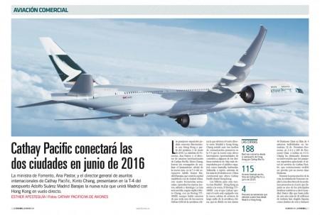 Cathay Pacific comenzará a volar a Madrid en junio de 2016.