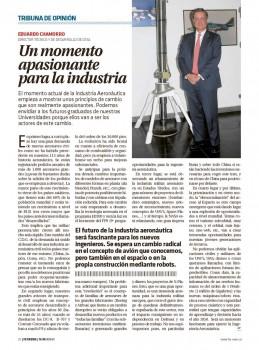 Eduardo Chamorro nos cuenta como puede ser el futuro que espera a los nuevos ingenieros aeronáuticos que ahora comienzan a formarse.