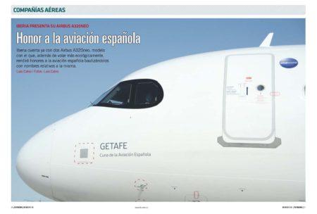 """Iberia se ha decantado por el """"antifaz"""" negro en las ventanillas de los pilotos como elemento distintivo de sus A320neo."""