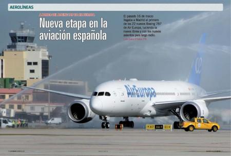 La llegada a España del primer Boeing 787 de Air Europa fue saludada con un arco de agua a cago de los bomberos del aeropuerto de Madrid Barajas.