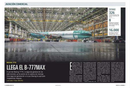 El primer B-777X en salir de la cadena de montaje ha sido la célula para ensayos estáticos.