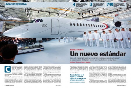El nuevo birreactor Falcon 5X tiene la mayor cabina de cualquier avión ejecutivo de Dassault.