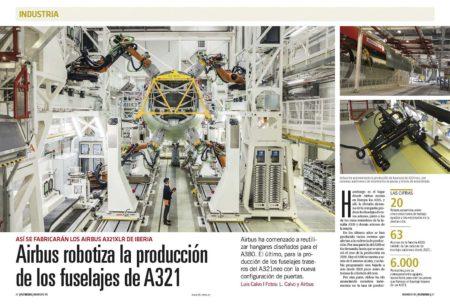 Airbus ha comenzado a robotizar la producción de las secciones de fuselaje del A321.