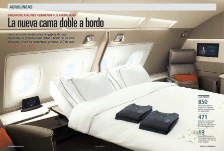 La nueva cabina doble de primera clase en los Airbus A380 de Singapore Airlines.