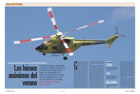 El helicóptero polaco PZL W30 Solkol es una auténtica mula de carga, con capacidad para trasladar una brigada de extinción y atacar el fuego con descargas de agua.