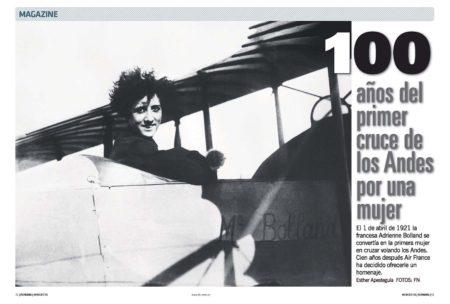 Adrienne Bolland fue la primera piloto en cruzar volando los Andes.
