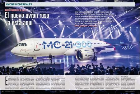 MC corresponde a las iniciales de avión de pasajeros en ruso. 21 Por el siglo 21. Es decir, avión de pasajeros del siglo 21. Es la declaración de Irkut con el avión que acaban de presentar.