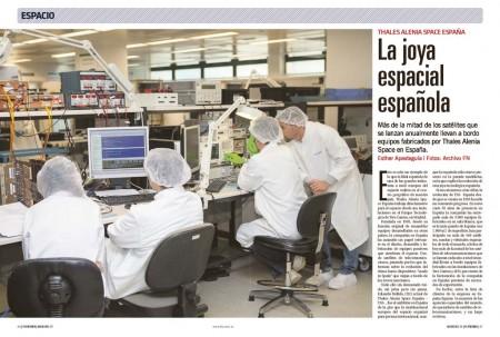 La división española de Thales Alenia Space participa en la mitad de los satélites que se ponen en órbita cada año.