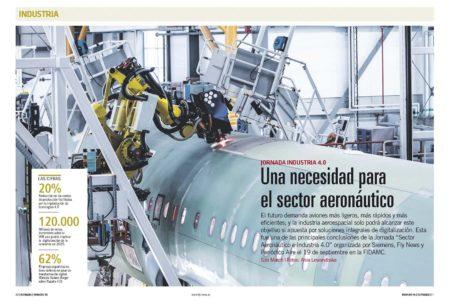 """La llamada industria 4.0 es el futuro de la mano del big data según las conclusiones de la Jornada """"Sector Aeronáutico e Industria 4.0"""" organizada por Siemens y Fly News."""