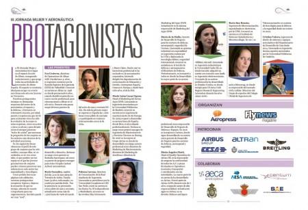 Las siete protagonistas de la III Jornada Mujer y Aeronáutica y la moderadora.