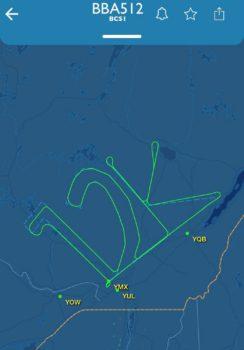 Traza radar de uno de los vuelos de prueba del Airbus número 12.000 entregado en el que se dibujó en el cielo 12K, por 12-000.