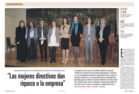 Nuestra editora Esther Apesteguía (segunda por la izquerda) fue una de las ponentes en la jornada organizada por el COIAE junto a mujeres como la directora de la planta de Illescas de Airbus, la primera doctora en ingeniería aeronáutica en España o la directora general de AESA.