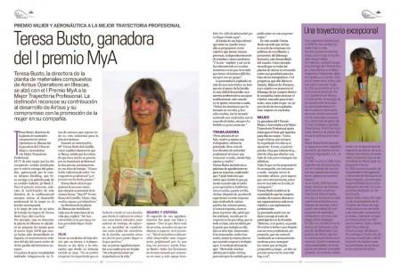 Teresa Busto, directora de la planta de materiales compuestos de Airbus Operations en Illescas, ganadora del I premio MYA a la mejor trayectoria profesional.