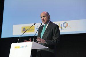 Luis de Guindos durante su intervención en la celebración de los 40 Años del DCTI.
