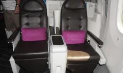 Asientos de clase ejecutiva en configuración 2-2-2 e inclinados respecto al eje longuitudinal del avión.