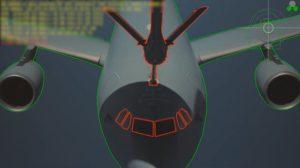 Simulación de cómo se ve el avión receptor desde la estación de control de la pértiga de repostaje.