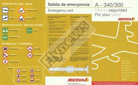 Instrucciones de seguridad del Airbus A340-300 de Iberia.