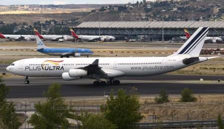 El tercer A340 de Plus Ultra rodando en Barajas para despegar hacia Barcelona y volar a La Habana.