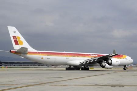 Airbus A340 de Iberia en Barcelona