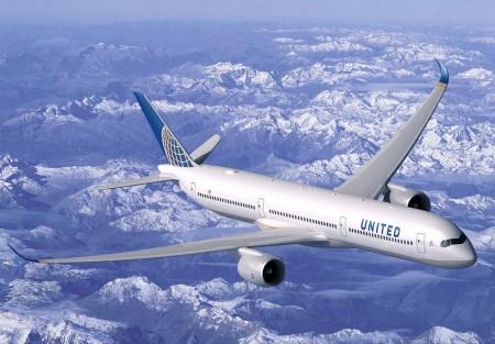 Ilustración del A350-1000 con colores de United.