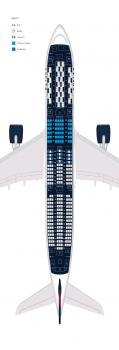 Configuración interior de los A350 de Delta.