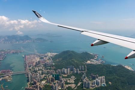 Airbus A350-900 volando sobre Hong Kong