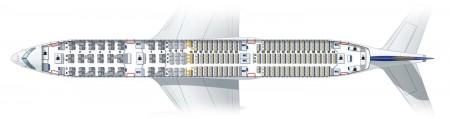 Configuración interior del Airbus A350 de Lufthansa.
