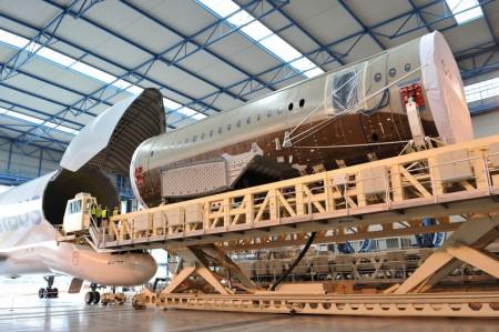 Sección 15 del A350 producida por Spirit Aerosystems en la que se incluyen componentes de Sofitec.