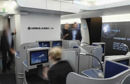 Maqueta de cabina de clase ejecutiva de Airbus A50'