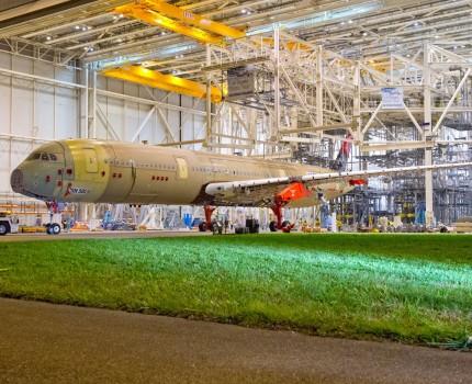 Célula de ensayos estáticos del Airbus A350.