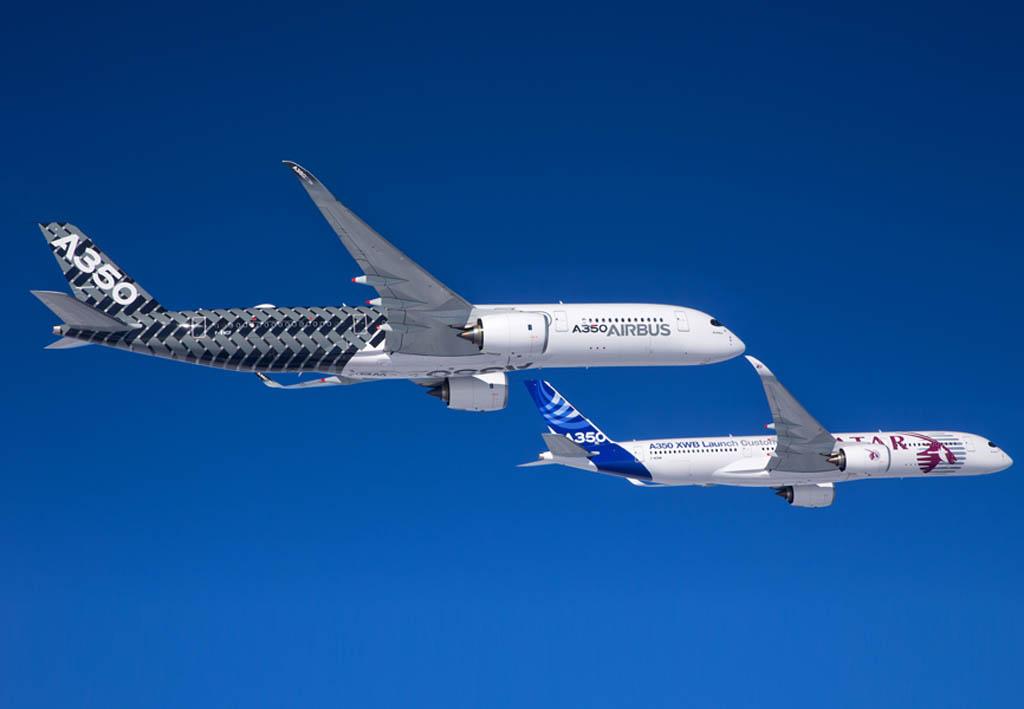 Airbus A350 msn004 y msn002 en vuelo