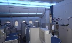 La cabina instalada por Airbus en el A350 representa una genérica sin tener por qué coincidir exactamente con la de ningún cliente.