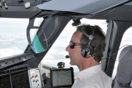 Fabrice Bregier en el Airbus A350.
