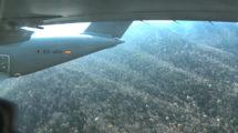 El Airbus A400M durante uno de los vuelos a baja cota en los Pirineos.