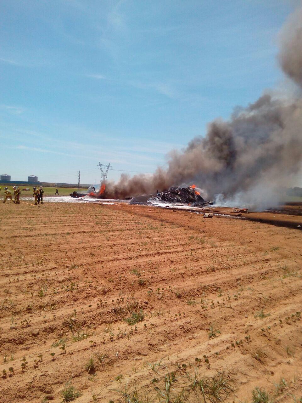 Lugar del accidente del A400M en Sevilla.