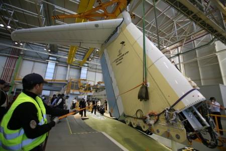 Cadena final de montaje del Airbus Defense and Space A400M en Sevilla.