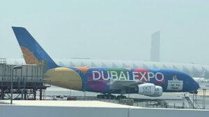 El nuevo Airbus A380 dedicado por Emirtaes a la Expo que se abre en octubre.