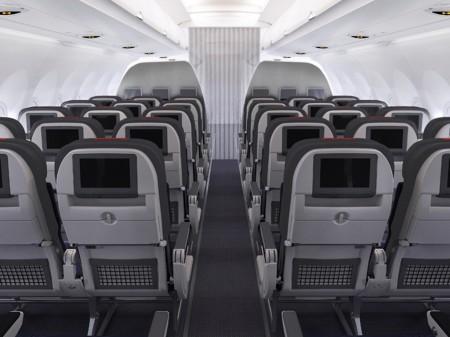 Clase turista de los Airbus A321 de American Airlines