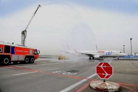 LLegada del primer vuelo de Air Europa a Frankfurt