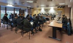 Imagen de la reunión celebrada en la sede de Aena Aeropuertos para lasubasta de las tiendas duty free de once aeropuertos españoles.
