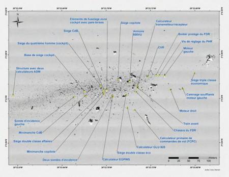 Gráfico del campo de restos en el fondo del Atlántico
