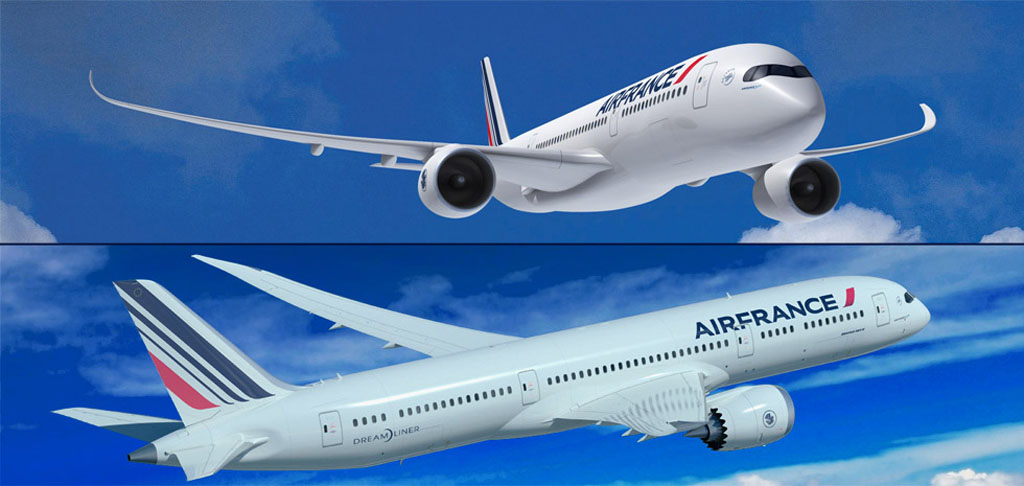 A350 y B-787 con colores de Air France