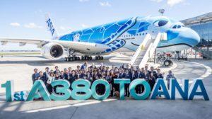 Entre las entregas de Airbus en el primer trimestre de 2019 estuvo el primer A380 para ANA.