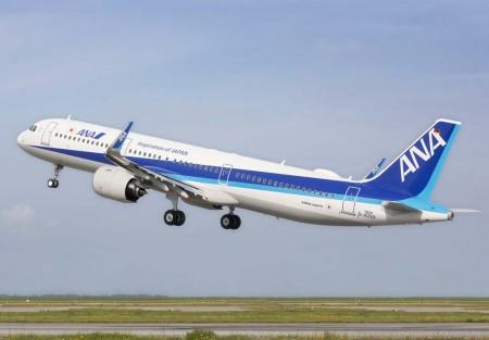 El primer A321neo de ANA en su primer vuelo el 25 de agosto.