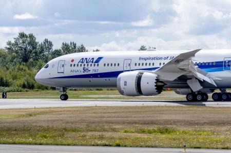 ANA ha añadido un sticker a su nuevo B-787 declarando que es su ejemplar número 50.