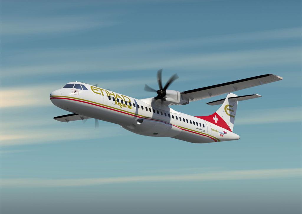 ATR con colores de Etihad y Darwin Airline