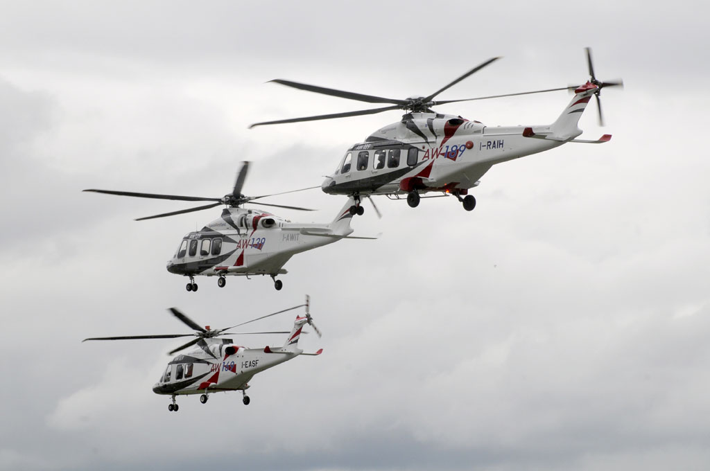 Trio de AgustaWestland en Farnborough.